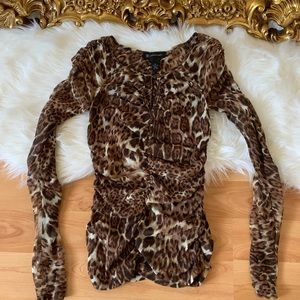 INC International Concepts Leopard Ruched Top